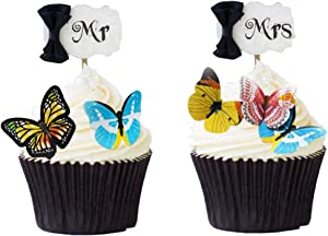 40 Pcs Edible Butterfly Cupcake Toppers, Rice Paper Cake & Cupcake Toppers for Birthday Party Family Gathering Wedding Graduation Food Decoration(Assorted Butterflies)