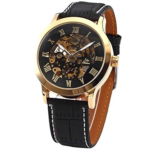 Shenhua Skeleton - Reloj de pulsera para hombre, correa de piel: Amazon.es: Relojes