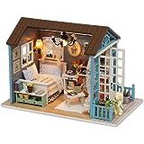 CuteBee 手作りハウスキット、子犬物語、木製ハウスミニチュア家具キット、LEDライト、オルゴール、ダストカバー、木製工芸品モデルコレクション贈り物 (forest time)