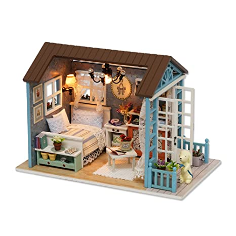 CUTEBEE Mini Wooden Dollhouse With Furnitures DIY Assembling House  Miniature Crafts Toys For Children And Teens