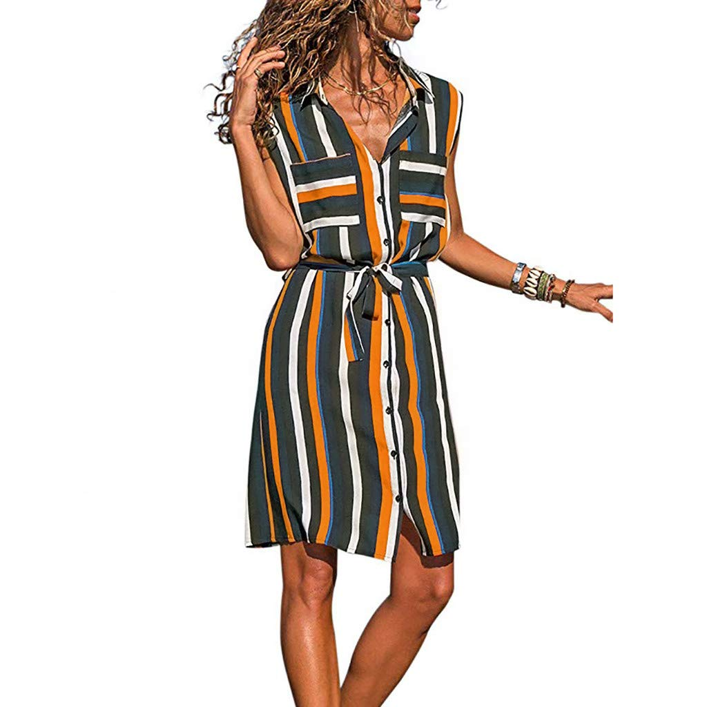 Euone Dress Clearance, Woman Summer Colorful Striped Print Dress Clearance Pockets Lapel Sleeveless Short Sundress Long Blouse Work Office Casual Dresses