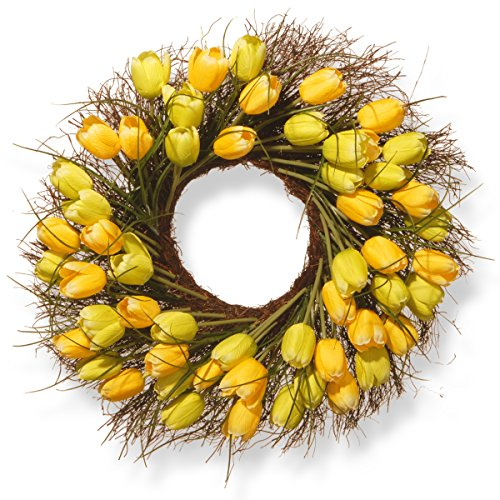 National Tree 24 Inch Branch Wreath with Yellow