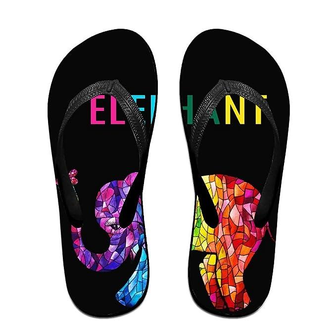 Unisex Non-slip Flip Flops Elephant In Black Pattern Cool Beach Slippers Sandal