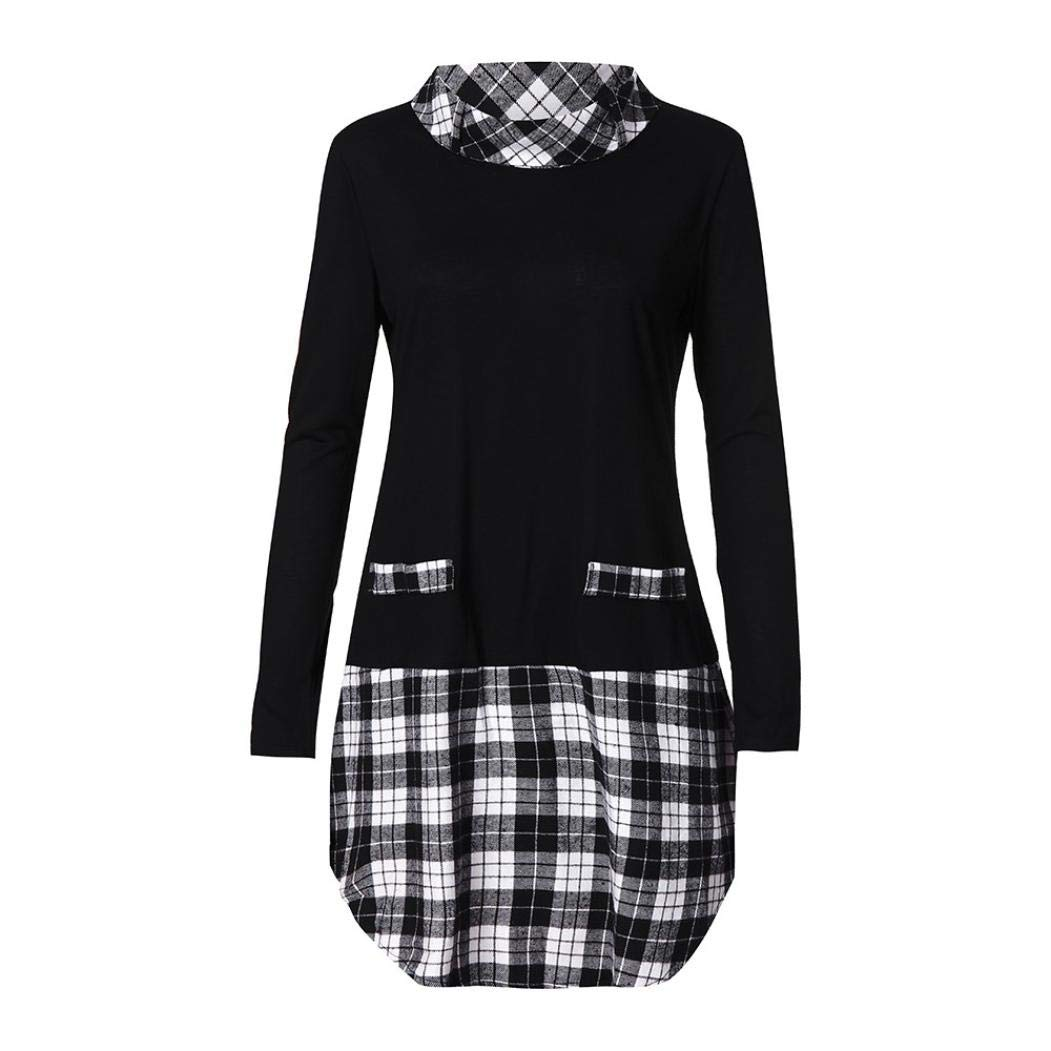 2018 New Viahwyt Womens Plaid Checkered Long Sleeve Slim Tunic Tops Stand Collar Pullover Jumper Sweatshirt Autumn Winter T-Shirt Dress for Pants UK Size 8-22