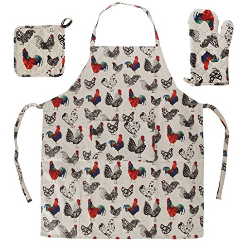 Home-X 3 Piece Rooster Kitchen Linen Set. Apron, Oven Glove and Mitt Rooster Apron