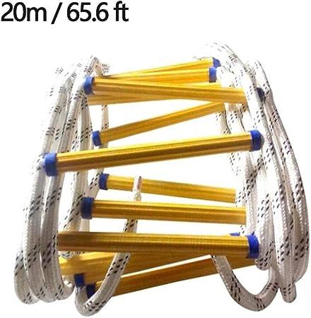 Resina Antideslizante de Emergencia descendente Escaleras de evacuación, la Escalera de Cuerda de Rescate Ascendente de Emergencia es Muy Adecuada para Ventanas y Balcones, con Gancho,20m/65.6ft: Amazon.es: Hogar
