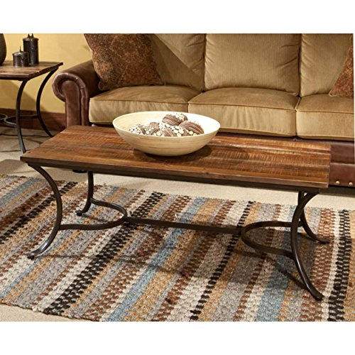 Emerald Home Innsbruck Medium Brown Coffee Table with Solid Wood Top And Curved Metal Base (Wood Table Metal Top Legs)