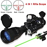 4 IN 1 AR15 Tactical 4-16x50AOEG Rifle Scope R/G Illuminated Range Finder Reticle Green Laser and Multi Optical Coated Holographic Dot Sight (24Month Guarantee)