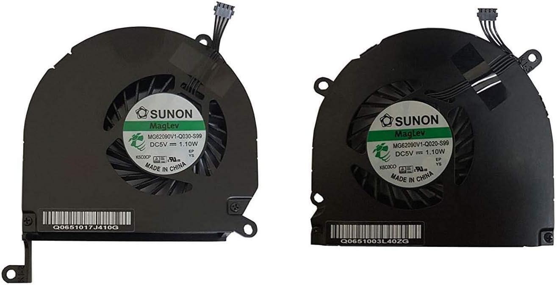 Juego de 2 Ventiladores de refrigeración para MacBook Pro A1286 (Izquierda) 661-4952 661-4951 años de compatibilidad: 2008, 2009, 2010, 2011