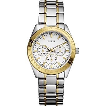 Guess Womens W12083L2 Silver Stainless-Steel Quartz Watch with White Dial