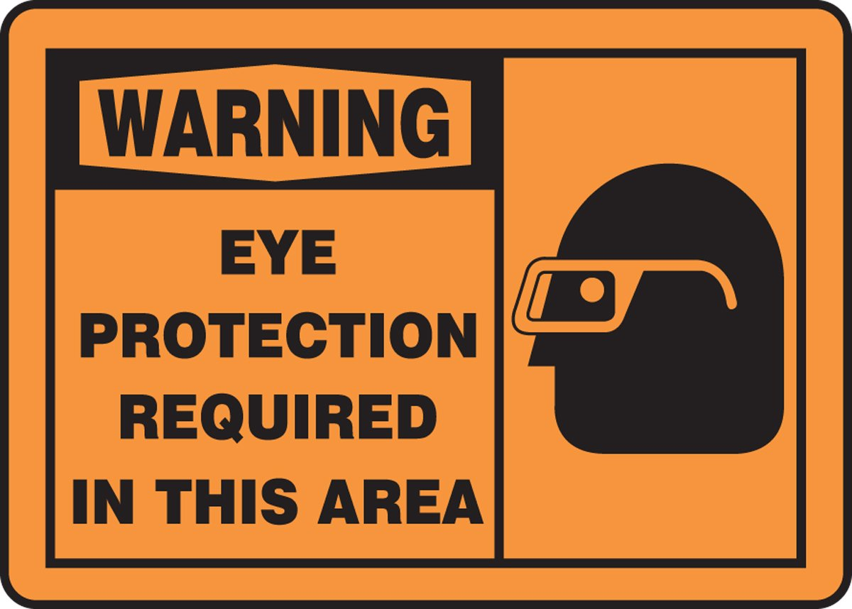 7 Length x 10 Width Black on Orange Accuform MPPE321VA Aluminum Sign LegendWARNING EYE PROTECTION REQUIRED IN THIS AREA
