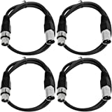 SEISMIC AUDIO - SAXLX-2 - 4 Pack of 2' XLR Male to XLR Female Patch Cables - Balanced - 2 Foot Patch Cord - Black and Black