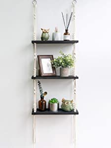 TIMEYARD Macrame Shelf Hanging Shelves, Wooden Wall Shelf with Woven Rope, Black Floating Shelves Storage Organizer, 3 Tier Shelf Boho Decor for Living Room, Bathroom, Bedroom