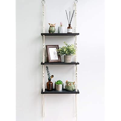 Decorative Wall Mounted Shelves Hanging Rack with Rope for Bedroom Living Room