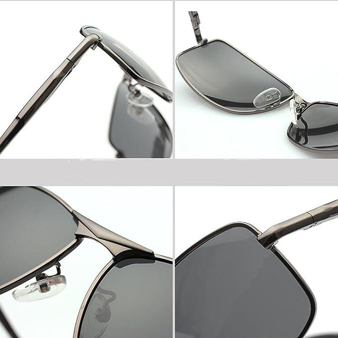 HONEY Polarisierte Sonnenbrille der hohen Qualitätsmänner - quadratische Sport-Gläser - Gewehr-farbiger Rahmen / schwarzer Rahmen ( Farbe : Black/gray lens ) 50nFh9