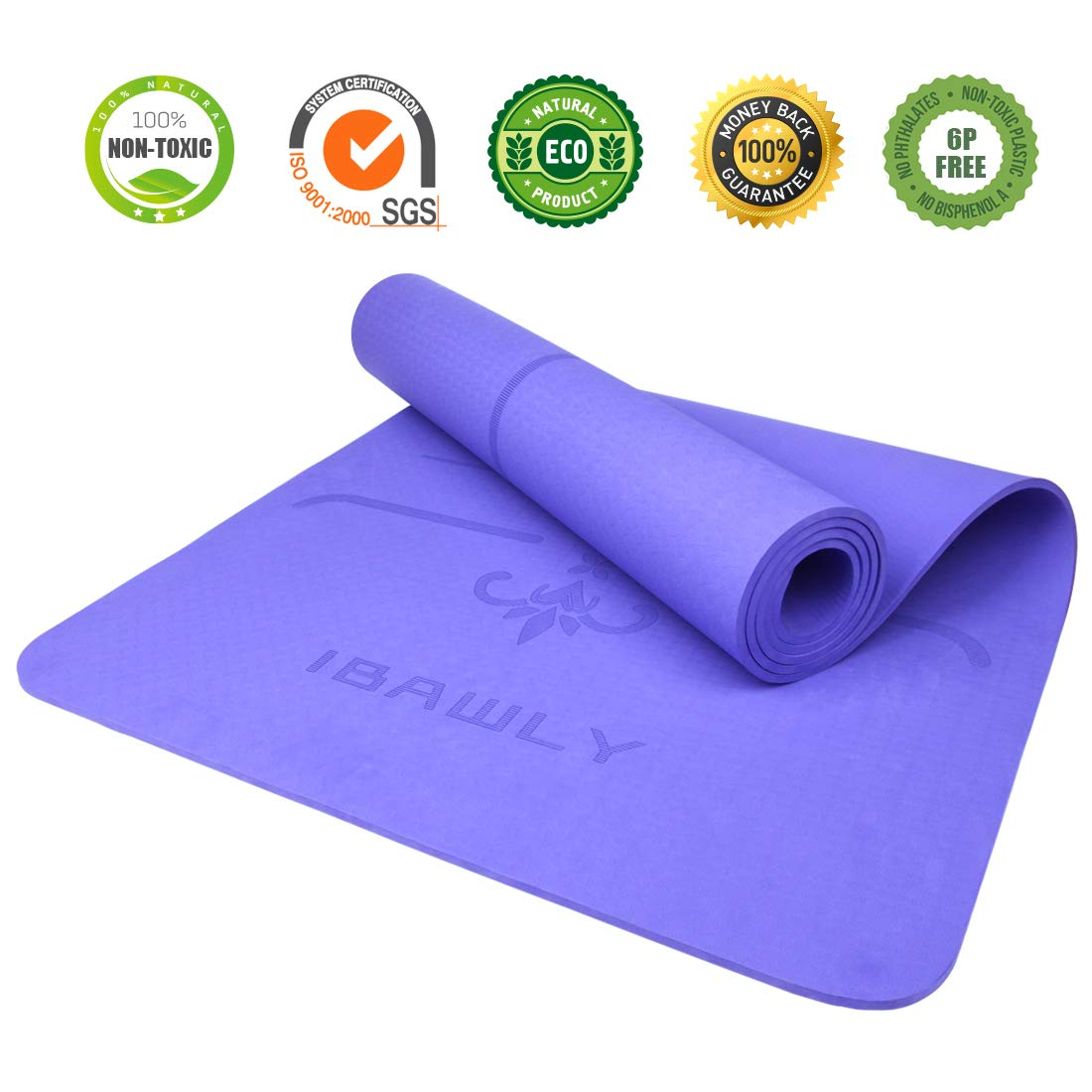 IBAWLY Eco Friendly Non Slip Hot Yoga Mat 1 4 Extra Thick High Density Anti-Tear Exercise Mat for Yoga Fitness Workout 72 x 24 with Carrying Strap 6mm