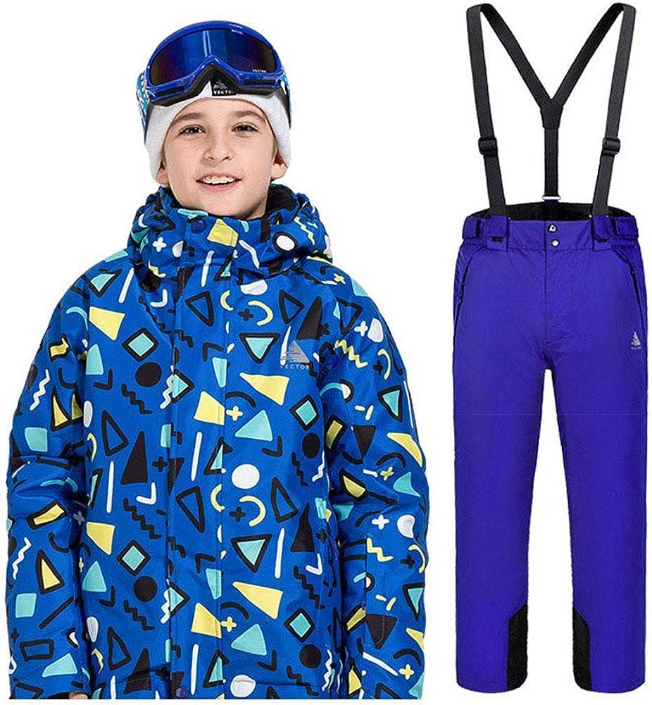 Snow Bib 2 Pcs Winter Set FREE FISHER Unisex Boys Girls Warm Cartoon Snowsuit Ski Jacket