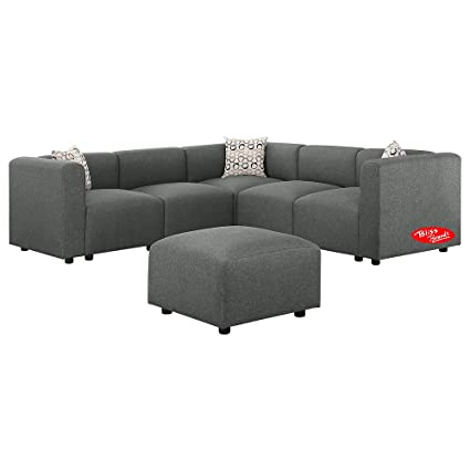 Amazon.com: Sectional Sofa, Gray Linen Fabric Modular Sofa Couch ...