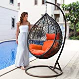 Cheap Island Gale Hanging Basket Chair Outdoor Front Porch Furniture with Stand and Cushion (Brown Wicker, Orange Cushion)
