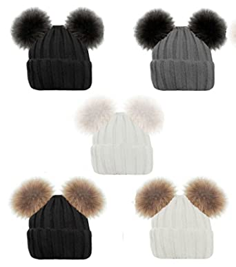 Ladies Gorgeous Ribbed Beanie HAT Double Faux Fur POM POM Bear Cute 5  Colours (Black 3d5d6a1b4f67