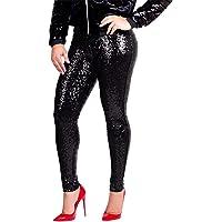 Bluestermall Pantaloni con Paillettes da Donna Slim Fit Moda