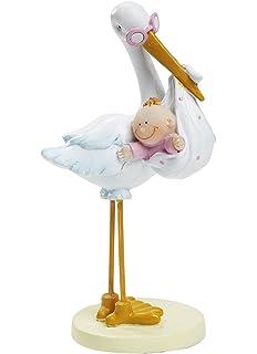 Hobbyfun - Figura decorativa para para tarta o mesa, diseño de cigüeña con bebé niña