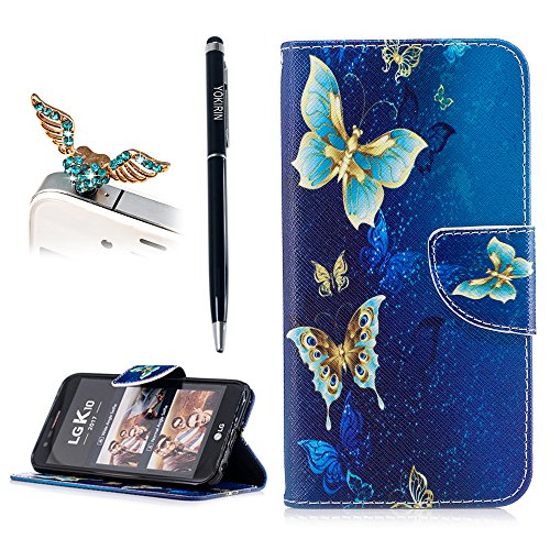 LG K20 V Case, LG K20 Plus/LG Harmony/LG K10 2017 / LG Grace Wallet Case, YOKIRIN Colorful Print Gold Butterfly Pattern Premium Leather Soft TPU Inner Bumper Kickstand Card Slot Cover Skin Shell