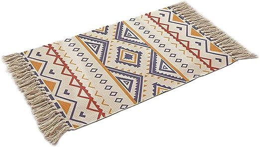 Hermoso Alfombra étnica nórdica en algodón y lino - 【 60*90 CM ...