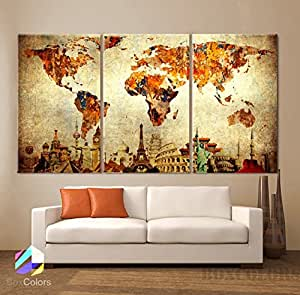 "Large 30""x 60"" 3 Panels 30x20 Ea Art Canvas Print Original Wonders of the World Old Paper Map Vintage Wall Decor Home Interior (Framed 1.5"" Depth)"
