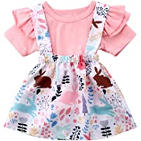 b405fbe55aa Toddler Baby Girl Easter Clothes Skirt Set Ruffle Sleeves Top+ Rabbit Print  Floral Suspender Skirt Tutu