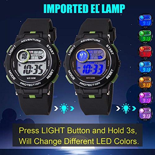 Kid Watch For Boy Girl LED Multi Function Fashion Sport Outdoor Digital Wristwatch Dress Waterproof Alarm Black Green by AXSPT (Image #3)