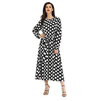 95db4f4513a OHQ Femme Robe De Soiree Madame RéTro Point Vague Impression Manches Longues  Grand Pendule Pull Chambre