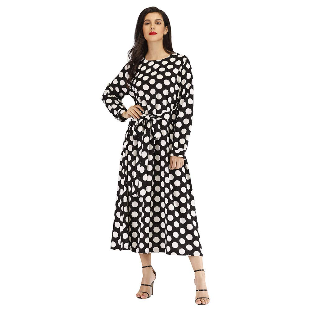 Women Long Maxi Swing Dress Fashion Casual Long Sleeve Vintage Dot Print Tie Loose Prom Party