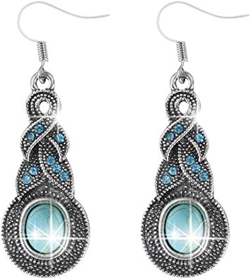Jewelry Vintage Antique Silver Turquoise Ear Stud Dangle Hollow Out Earrings