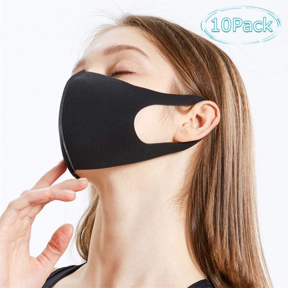 Masque R/éutilisable et S/écurit/é Housse de Protection Lavable Face Cover en Coton Anti-Pollution Lot de 10 Coton Anti-Poussi/ère Respirant Couverture de Protection Faical