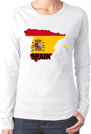Camiseta de algodón con Camiseta de Manga Larga con Mapa de España de la Bandera de España de Comfortsoft: Amazon.es: Ropa y accesorios