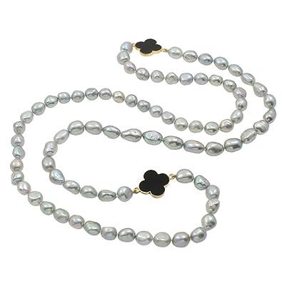 3caff328bef9 Multi-estilo collar de perlas de agua dulce Natural de la perla de 5-6mm  collar - 240 cm de Perlas  Amazon.es  Joyería
