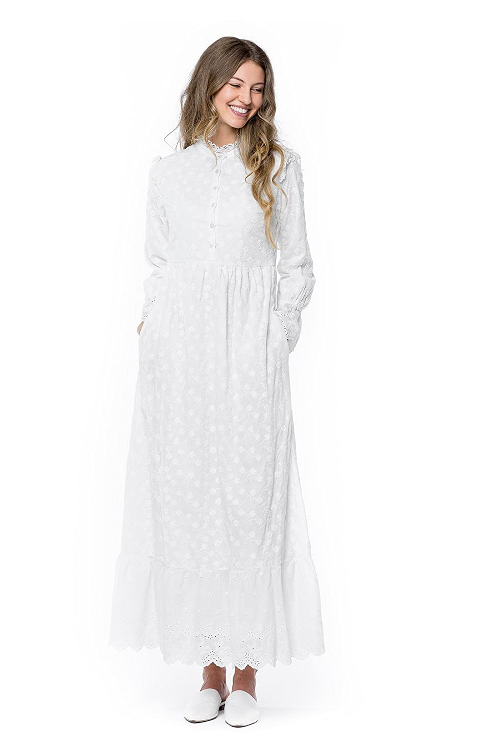 1920s Downton Abbey Dresses ModWhite Magnolia White Temple Dress $89.00 AT vintagedancer.com