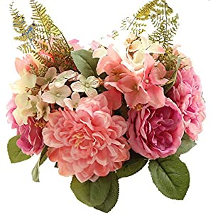 BLOSSOMLIFE Artificial Holding Flowers Fake Flowers Dahlia Bouquet Royal Rose Hydrangea Artificial Flowers Home Festival Decoration Wedding Silk Flower Roses (Pink) 115