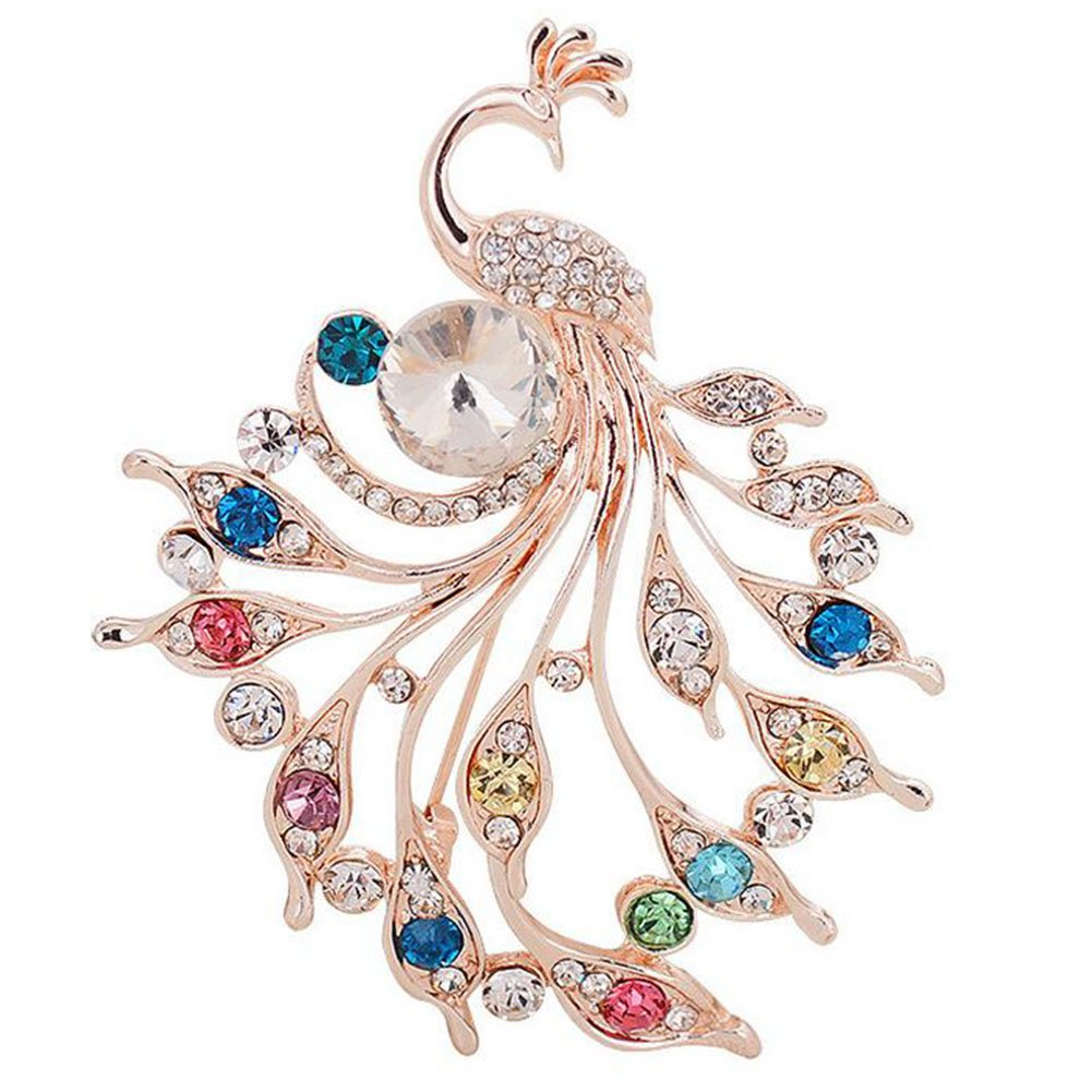 daliuing Women's Brooch Peacock Shape Brooch Pin Zircon Inlay Brooch Pin for Women Ladies Girls Jewelry Gift