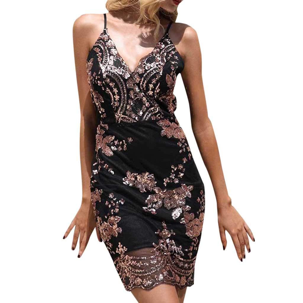 Amazon.com  RTYou Women Dress Women s Sexy V-Neck Sparkle Sequin Sleeveless  Camis Party Club Mini Dress  Clothing 329e162d4655