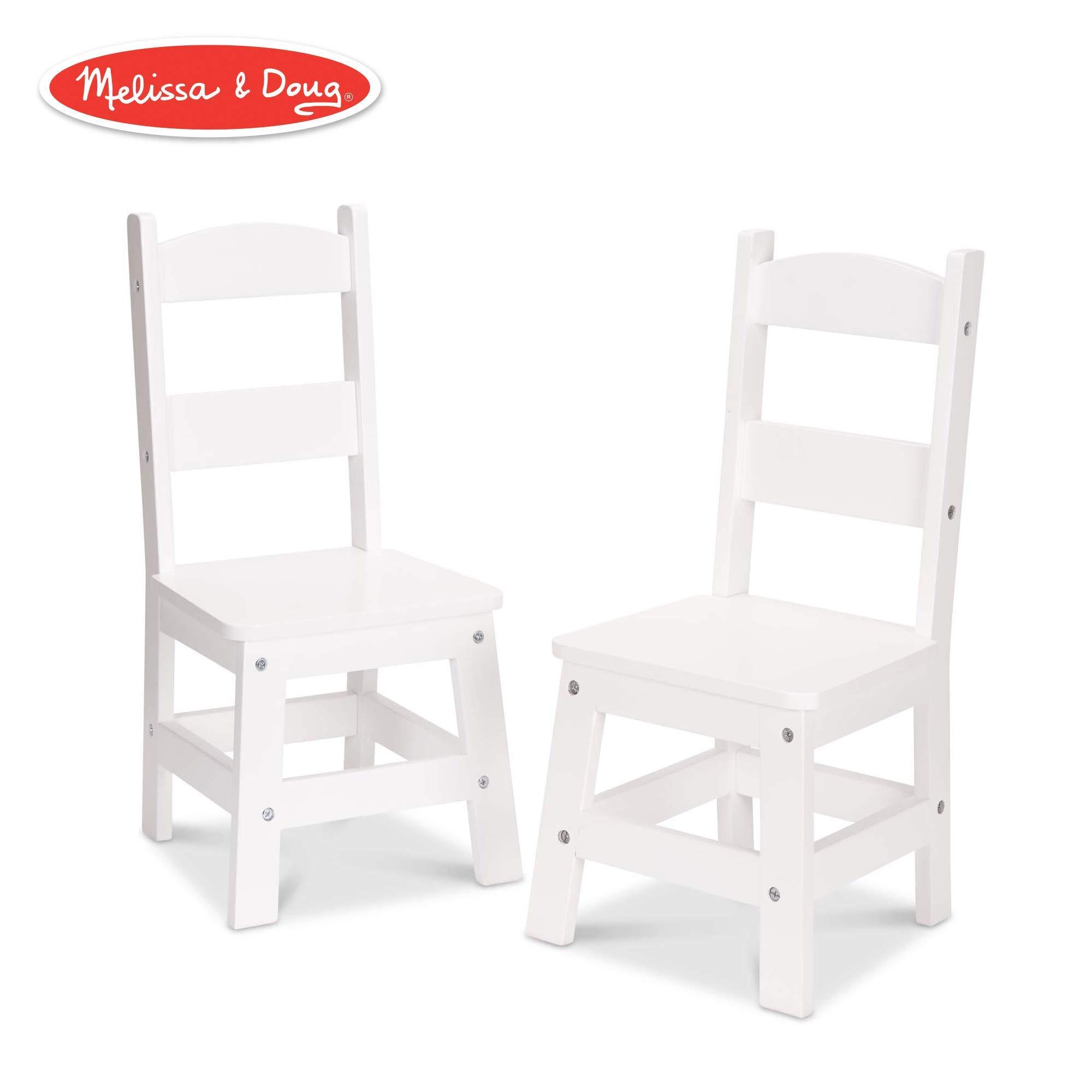 Melissa & Doug Wooden Chair Pair - White Children's Furniture (Renewed) by Melissa & Doug