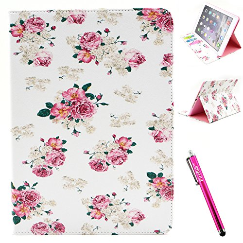 iPad Air 2 Case, Firefish iPad Air 2 Cover [Kickstand] [Bumper] PU Leather Protective Skin Anti-Slip Lightweight [Card Slots] Case for Apple iPad Air 2 - Flower
