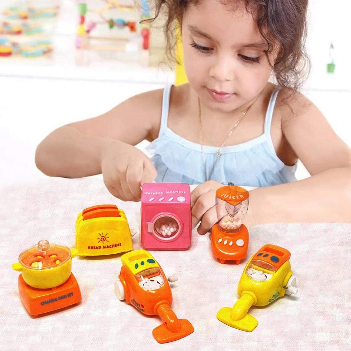 Yellow//Orange King Sport Mini Home Realistic Kitchen Set Little Chef Cook Hours of Role-Playing Fun Appliances Toaster Juicer Interactive Early Learning Set of 6