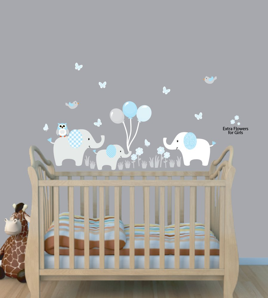 Balloon Wall Stickers, Boy Animal Wall Stickers, Baby Blue, Elephant Clings