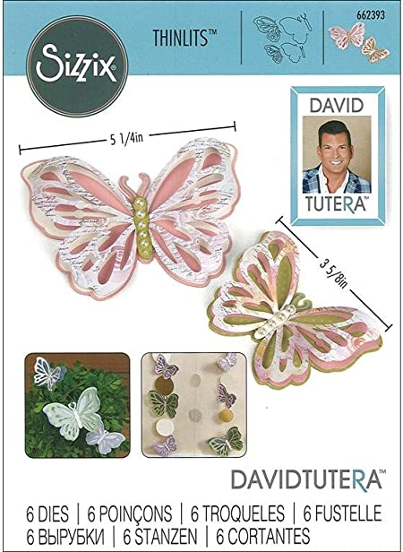 Sizzix 662393 Thinlits Die Set 6PK Multicolour 20,9 x 13,2 x 0,4 cm Papillons d/élicats par David Tutera M/étal