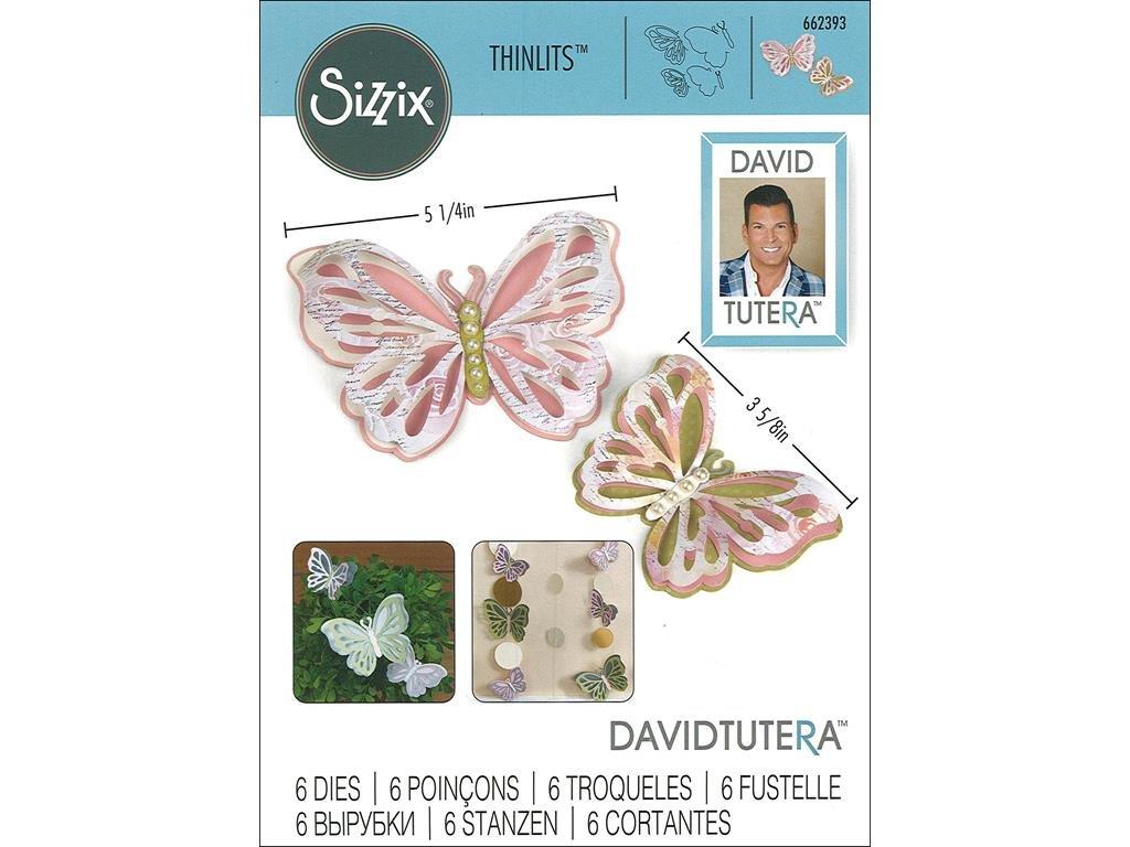 20.9 x 13.2 x 0.4 cm Sizzix 662393 Fustella Thinlits-Farfalle Delicate di David Tutera Acciaio