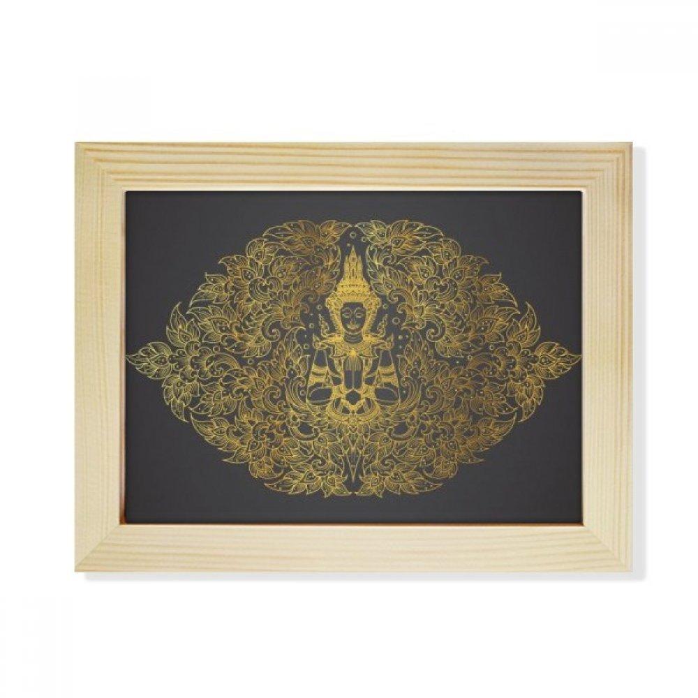DIYthinker Thai Symmetrical Gold Foil Illustration Desktop Wooden Photo Frame Picture Art Painting 6x8 inch by DIYthinker