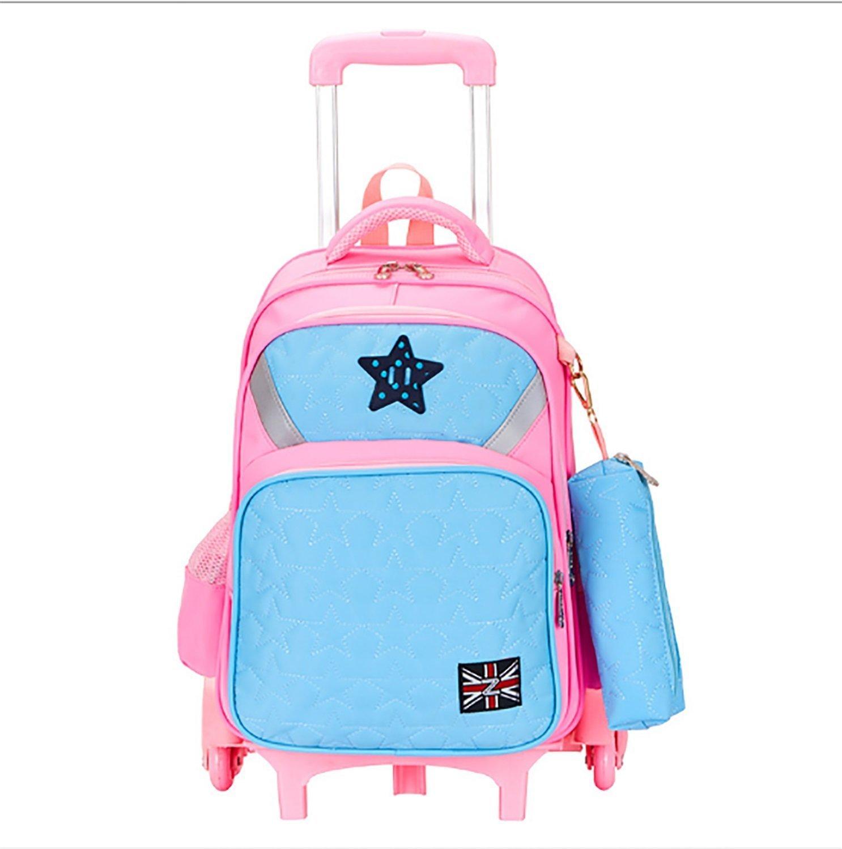 Rayem 子供用スーツケース 2ラウンドトラベルバッグ 17インチ バックパック 小学生に最適 取り外し可能 30 13 40 (カラー:ピンク)   B07G4BQQ7M