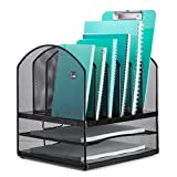 Mindspace Desktop File Organizer – 6x Vertical Notebook/Letter Holders + 2x Horizontal Shelf Sections – Extra Strong Metal Mesh – Great for Teachers, Home, or Office Organization